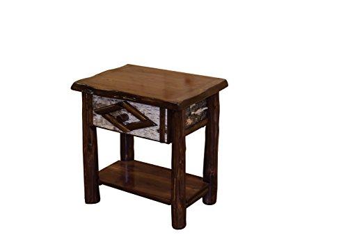 Live Edge Rustic Red Cedar Log 1 Drawer Nightstand / End Table- Amish Made USA - Log Cedar Nightstand 1 Drawer