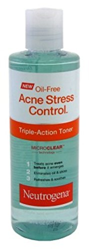 Neutrogena Oil-Free Acne-Fighting Stress Control Triple-Action Facial Toner, Soothing and Refreshing Toner with Salicylic Acid Acne Medicine, Green Tea, and Cucumber Extract, 8 fl. oz (Pack of 3)