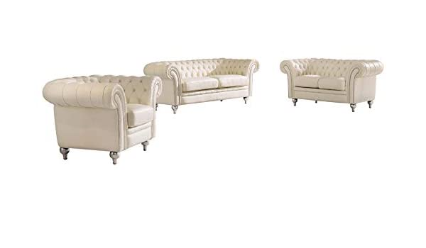 Amazon.com: 287 Leather Living Room Set in Cream, 3-Piece ...