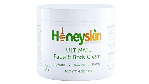 Face & Body Cream Moisturizer - Nourishing Aloe Vera + Manuka Honey for Rosacea Eczema Psoriasis Rashes Itchiness & Redness - Organic & Natural Cracked Skin Relief - Anti Aging & Anti Wrinkle (4 oz)