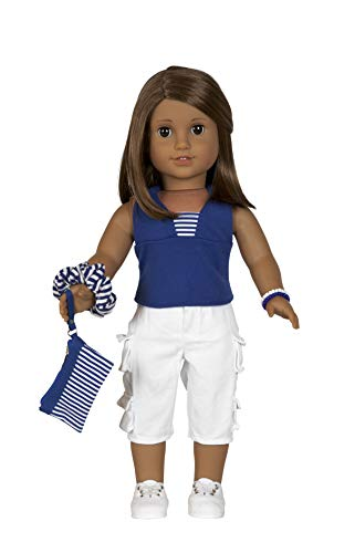 "Diana Collection Blue Halter Top with White Capris and Sneakers. Complete Outfit, Fits 18"" Dolls like American Girl"
