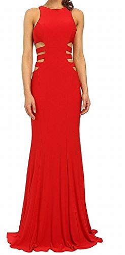 Faviana Women's Jersey Gown w/ Side Cut Outs 7820 Red Dress 10