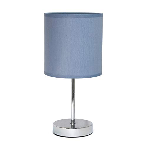Simple Designs Chrome Mini Basic Table Lamp with Fabric Shad