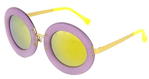 LINDA FARROW MARKUS LUPFER Round Lilac Lime Green Mirror Glitter ML6 - Linda Round Oversized Sunglasses Farrow