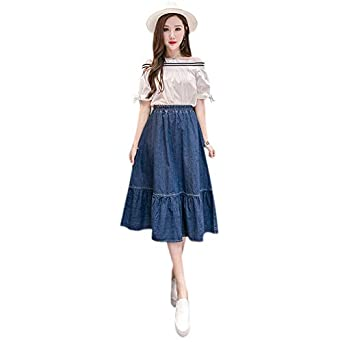 afa1cbc0e5 SODIAL Medium, Dark Blue Women Fashion Korean Solid Elastic Waist A-Line  Denim Skirt P: Amazon.in: Clothing & Accessories