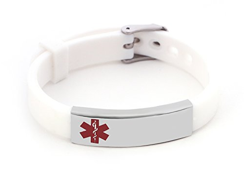 Silicone Medical Alert ID Bracelet White for Men and Women (Free Engraving)