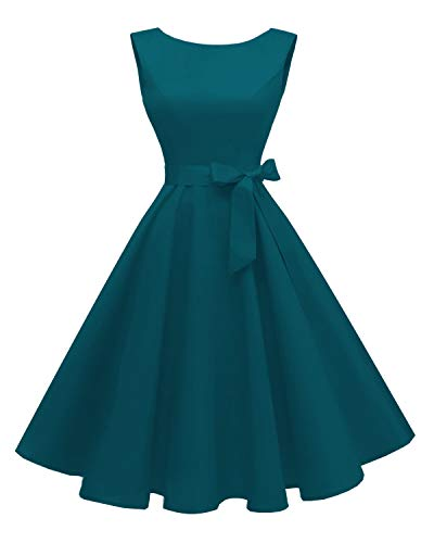 Satin Vintage Cocktail Dress - Hanpceirs Women's Boatneck Sleeveless Swing Vintage 1950s Cocktail Dress Tealblue S