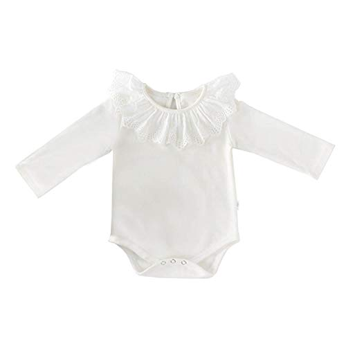 Collar Onesie - AIKSSOO Infant Baby Girls Long Sleeve Onesies Lace Trim Ruffle Collar Tops Tees Size 66(3-6M) (White)