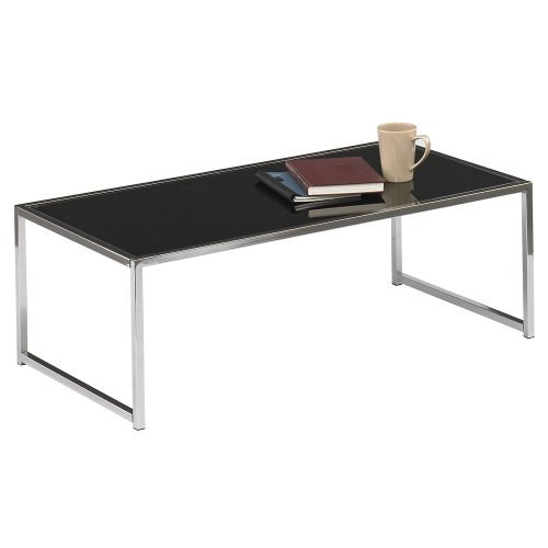 "Office Star Yield Collection Black Glass Coffee Table 44""W x 22""D x 15""H, Chrome Frame"