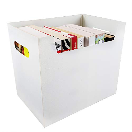 - Portable File Folder Organizer, Magazine & Book Storage Box with Side Handles, White