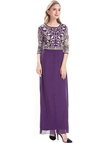 MANER Women Chiffon Beaded Sequin 3/4 Sleeve Long Gowns Prom Evening Bridesmaid Dress (S, Dark Purple)