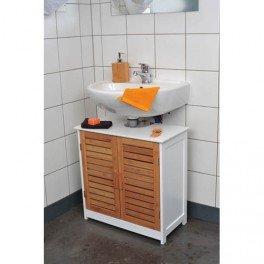 meuble bali lment sous lavabo en bois avec 2 portes bambou blanc