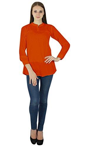 Camiseta de algodón mujeres de Sundress Boho Use ropa del verano del vestido de la túnica ocasional Naranja oscuro