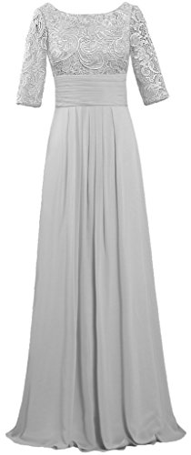 Women's Boat Neck Lace Chiffon Dresses Half Sleeve Evening Gown Size 20W US Silver