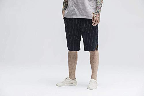 Tasche Pantaloncini Autunno Coulisse Cotone In A Unita Huixin Con Tinta Uomo Pantaloni Dunkelblau Da Vintage Righe Casual Skinny Pantalone Primavera qwSpPapZ