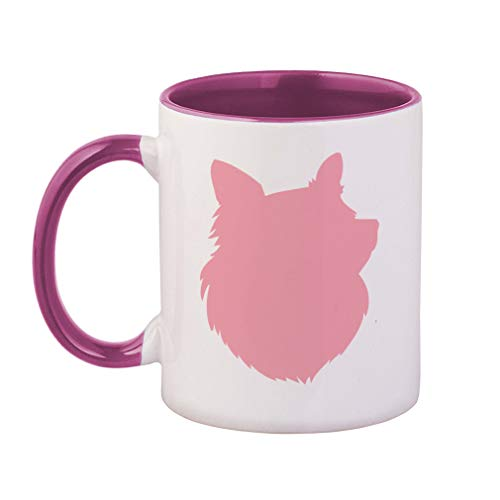 Pink Shetland Sheepdog Silhouette Ceramic Cup Colored Mug - Pink ()