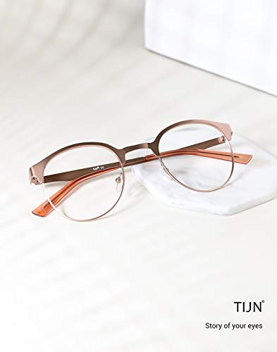 Lens Tijn Rose Non Glasses Metal Round Frame Clear New prescription ...