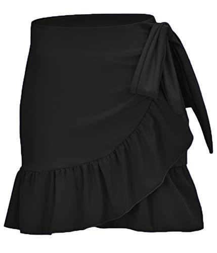 (ChinFun Women's Ruffle Sarongs Beach Wrap Swimwear Bikini Tankini Cover Up Swim Skirts Swimdress Solid Black)