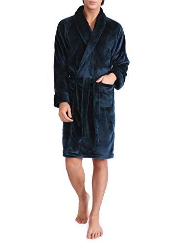 David Archy Mens Fleece Robe Ultra Soft Plush Shawl Collar 3/4 Length Long Bathrobe