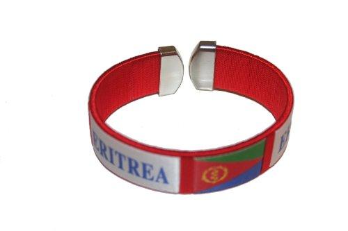 Eritrea Red Country Flag THICK C' Bracelet Wristband.. New (Eritrea Flag)