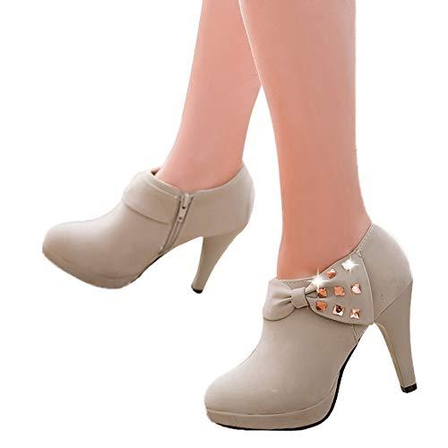 - Ankola High Heel Ankle Boots Shoes Women's High Block Heel Bow Rhinestone Suede Zip Boots (US:7, Gray)