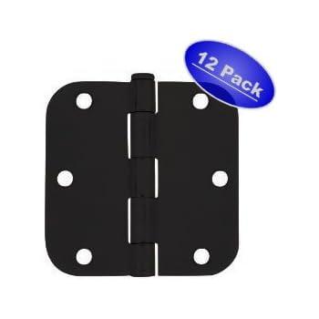 "Cosmas Flat Black Door Hinge 3.5"" Inch x 3.5"" Inch with 5/8"" Inch Radius Corners - 12 Pack"
