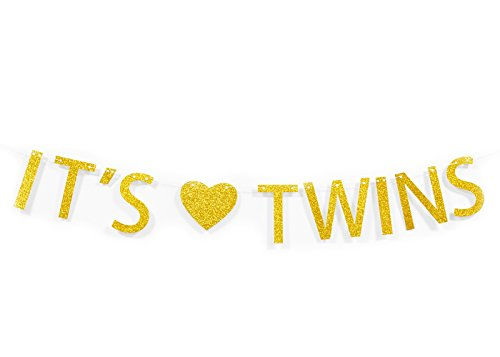 Qttier It's Twins Gold Glitter Banner Twins Baby Shower Gender Reveal Pregnancy Announcement Decor