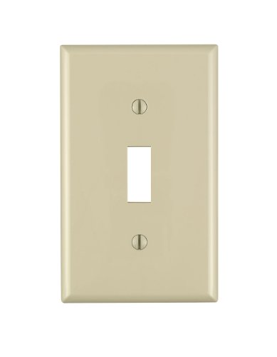 Leviton 80701-I 1-Toggle Standard Size Wall Plate, 1 Gang, 4-1/2 In L X 2-3/4 In W 0.22 In T, Smooth, 1 1-Pack, Ivory
