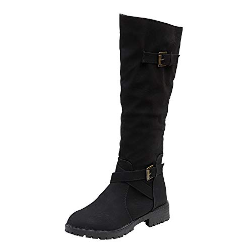 Egmy Women's Boots, Knee High Calf Biker Zip Punk Military Combat Army Boots