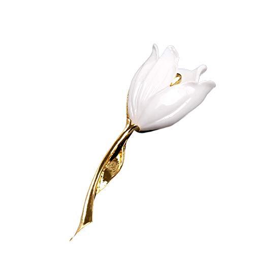 (Fashion Women Flower Tulip Enamel Brooch Pin Lapel Collar Scarf Decor Jewelry)