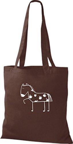 ShirtInStyle Bolsa de tela Bolsa de algodón Divertida Animales Caballo Pony - fucsia, 38 cm x 42 cm, 38 cm x 42 cm Marrón