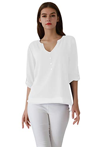 b81d6c362 OMZIN Women's Casual Chiffon Button V Neck Blouses Shirts Long Sleeve Top