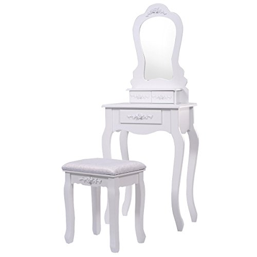 Vanity Jewelry Makeup Dressing Table Set with Stool Drawer Mirror Wood Desk