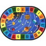 """Joy Carpets Kid Essentials Geography & Environment Oval Space Alphabet Rug, Multicolored, 5'4"""" x 7'8"""" from Joy Carpets"""