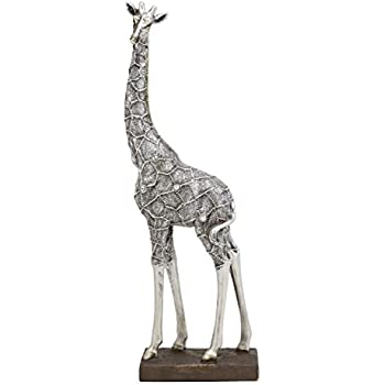 "Ebros Large Silver Giraffe Lovers Couple Heart Shaped Statue 12.5/"" Tall"