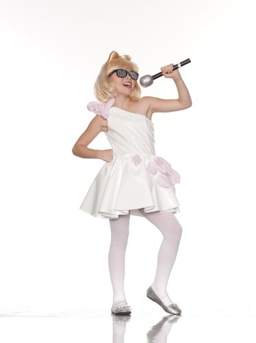 Party King White Popstar Dress Child Costume, - Gaga Lady Halloween