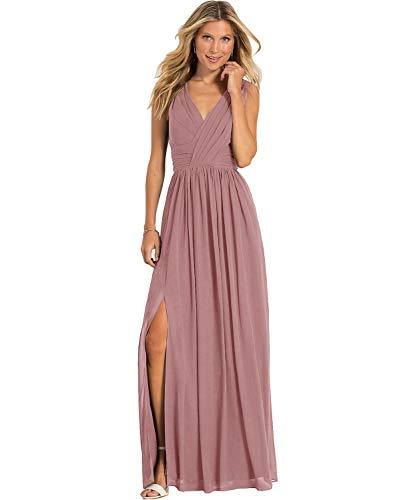 (Yilis Women's A Line V Neck Slit Chiffon Party Dress Long Formal Evening Bridesmaid Dresses Dusty Rose US2)