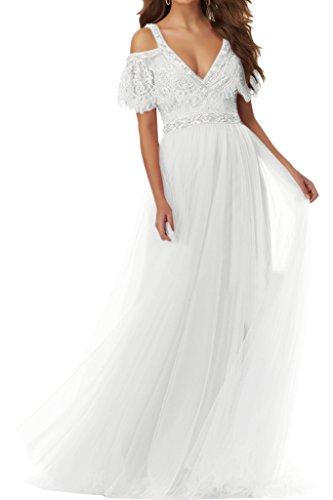 Ausschnitt Damen Abendkleid Promkleid Weiß Partykleid Festkleid Hochwertig Aermel Kurz Ivydressing V Tuell xtUOxp