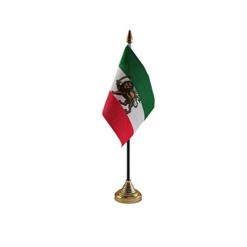 Pack Of 6 Old Iran Iranian Persia Persian Desktop Table Centrepiece Flag Flags With Gold Bases Ideal For Party Conferences Office Display