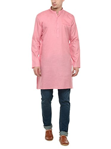 RG Designers Pink Self Design Full Sleeve Short Kurta For Men (36) by RG Designers