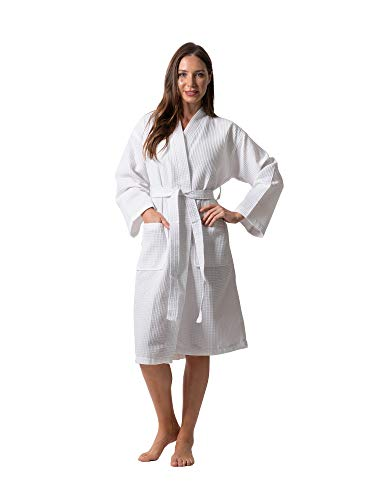Premium Turkish Cotton Waffle Weave Lightweight Kimono Spa Bathrobe for Women (White, Medium)