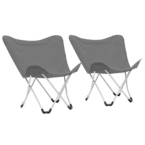 vidaXL 2x Butterfly Camping Chairs Foldable Grey Living Room Furniture Seat