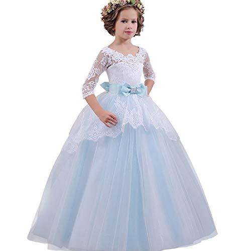 OTINICE Girls Formal Princess Dress Kids Lace Bowknot Wedding Performance Tutu ()