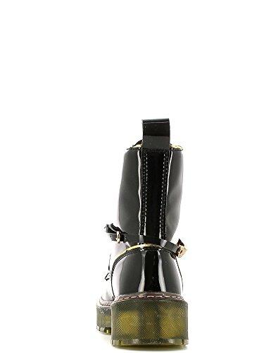 Café Noir FH413 botines atado en patente de cuero del faux con perfiles laminados negro
