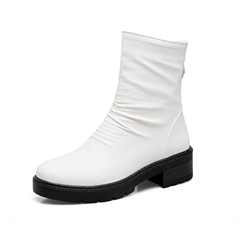 AN A&N Womens Boots Closed-Toe Zip Heeled Soft Ground Suede Round-Toe Outdoor Bootie Hard-Ground Microfiber Urethane Boots DKU01960 White