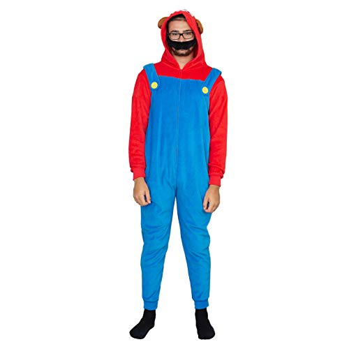 Adult Zip up Super Mario Brothers Mario Raccoon Red and Blue Costume Jumpsuit (Adult -