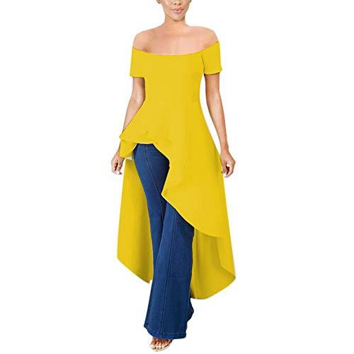 (Annystore High Low Tops for Women - Ruffle Short Sleeve Bodycon Peplum Shirt Dresses Yellow)
