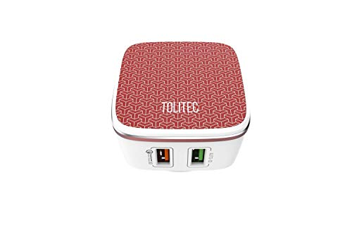 TOLITEC Main Charger 4.8A/30w 2-Port USB Wall Chargers with Auto-ID and Fast Charging 3.0 for Apple, Samsung, Nokia, Xiamoi and More Devices