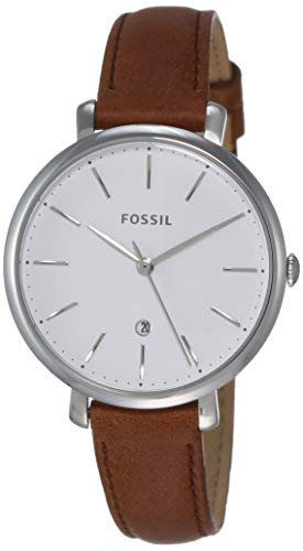 Fossil Ladies Brown Leather - Fossil Women's Jacqueline Stainless Steel Quartz Watch with Leather Calfskin Strap, Brown, 14 (Model: ES4368)