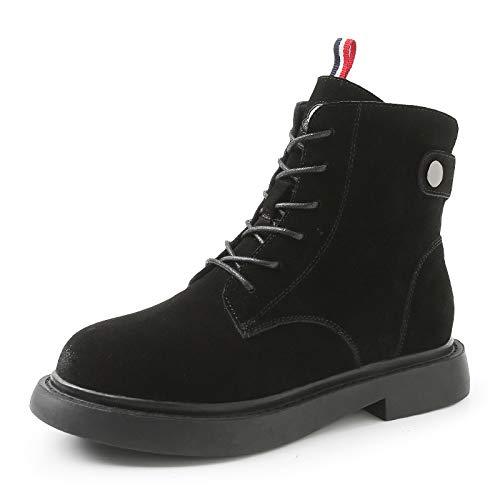 Lianaii Damen Stiefel Leather Herbst Und Winter Mode Lässig Hohe Stiefel Martin Stiefel Bereift Warm Plus Baumwolle